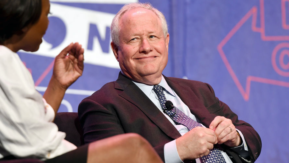 Moderator Joy-Ann Reid (L) and William Kristol at 'LBJ' panel during Politicon at Pasadena Convention Center on July 29, 2017 in Pasadena, California.