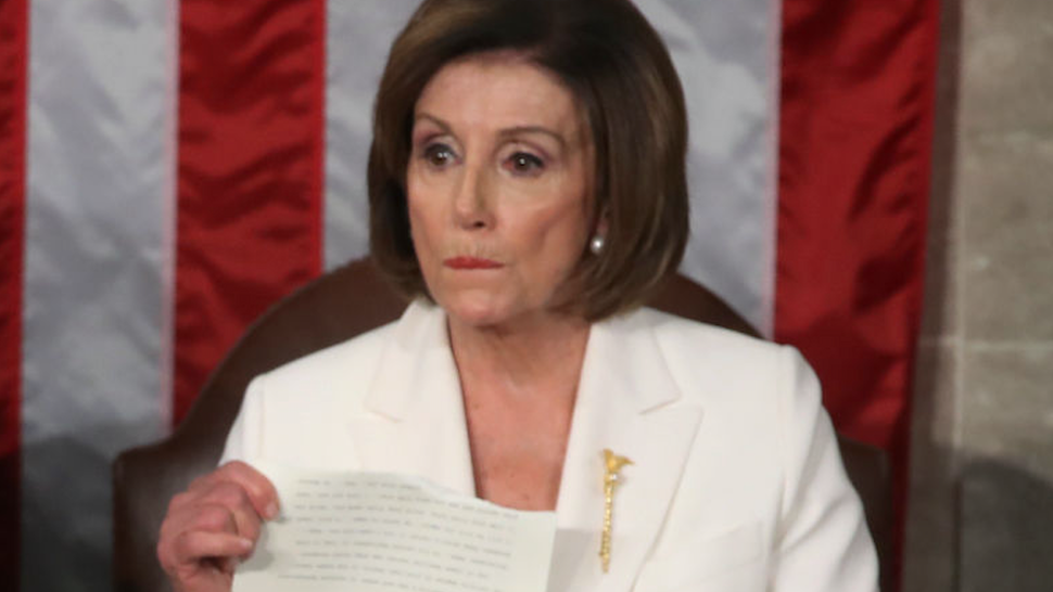 House Speaker Rep. Nancy Pelosi (D-CA) rips up pages of the State of the Union speech after U.S. President Donald Trump finishes his State of the Union speech in the chamber of the U.S. House of Representatives on February 04, 2020 in Washington, DC.