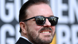 British host Ricky Gervais arrives for the 77th annual Golden Globe Awards on January 5, 2020, at The Beverly Hilton hotel in Beverly Hills, California.