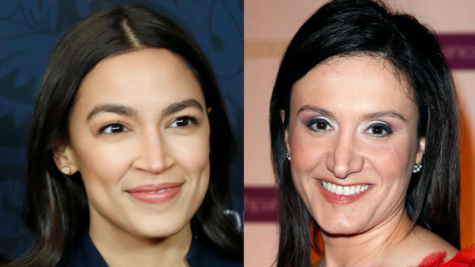 """Alexandria Ocasio-Cortez attends the world premiere of """"Little Women"""" at Museum of Modern Art on December 07, 2019 in New York City.//Michelle Caruso-Cabrera attends the Ballet Hispanico 40th Anniversary Spring Gala at the Grand Ballroom at The Plaza Hotel on April 11, 2011 in New York City."""