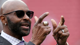 Former San Francisco 49ers wide receiver Jerry Rice -with one of this his Super Bowl rings- gestures before the San Francisco 49ers take on Green Bay Packers in their NFC Championship game at Levi's Stadium in Santa Clara, Calif., on Sunday, Jan. 19, 2020.