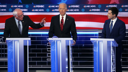 Democratic presidential candidate Sen. Bernie Sanders (I-VT) (L), addresses former South Bend, Indiana Mayor Pete Buttigieg (R) as former Vice President Joe Biden listens during the Democratic presidential primary debate at Paris Las Vegas on February 19, 2020 in Las Vegas, Nevada.