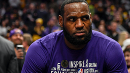 LeBron James (23) of the Los Angeles Lakers makes an angry face before the first quarter against the Denver Nuggets on Wednesday, February 12, 2020.