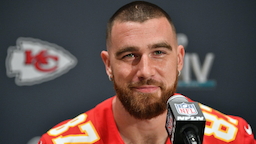 Travis Kelce #87 of the Kansas City Chiefs speaks to the media during the Kansas City Chiefs media availability prior to Super Bowl LIV at the JW Marriott Turnberry on January 30, 2020 in Aventura, Florida.