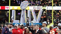 Members of the Kansas City Chiefs celebrate after defeating the San Francisco 49ers 31-20 in Super Bowl LIV at Hard Rock Stadium on February 02, 2020 in Miami, Florida. (Photo by Jamie Squire/Getty Images)