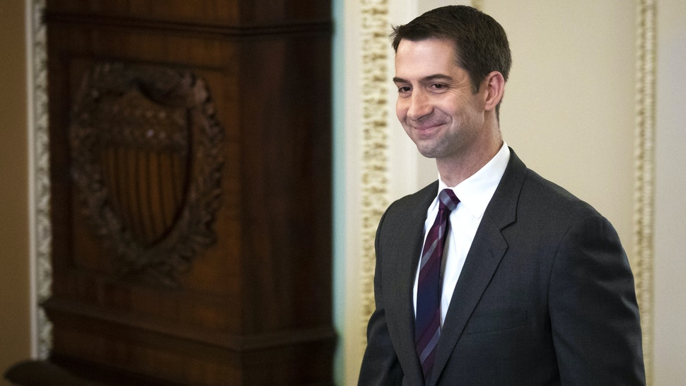 WASHINGTON, DC - JANUARY 21: Sen. Tom Cotton (R-AR) walks to the Senate floor for the start of impeachment trial proceedings at the U.S. Capitol on January 21, 2020 in Washington, DC. The Senate impeachment trial of U.S. President Donald Trump resumes on Tuesday.