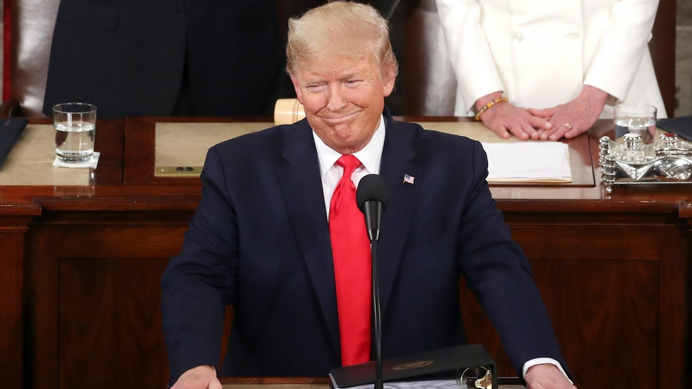 WASHINGTON, DC - FEBRUARY 04: President Donald Trump delivers the State of the Union address in the chamber of the U.S. House of Representatives on February 04, 2020 in Washington, DC. President Trump delivers his third State of the Union to the nation the night before the U.S. Senate is set to vote in his impeachment trial.