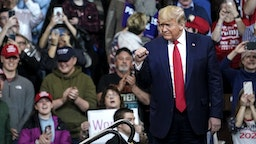"MANCHESTER, NH - FEBRUARY 10: U.S. President Donald Trump arrives for a ""Keep America Great"" rally at Southern New Hampshire University Arena on February 10, 2020 in Manchester, New Hampshire. New Hampshire will hold its first in the national primary on Tuesday."