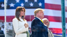 US President Donald Trump, First Lady Melania Trump and India's Prime Minister Narendra Modi attend 'Namaste Trump' rally at Sardar Patel Stadium in Motera, on the outskirts of Ahmedabad, on February 24, 2020.