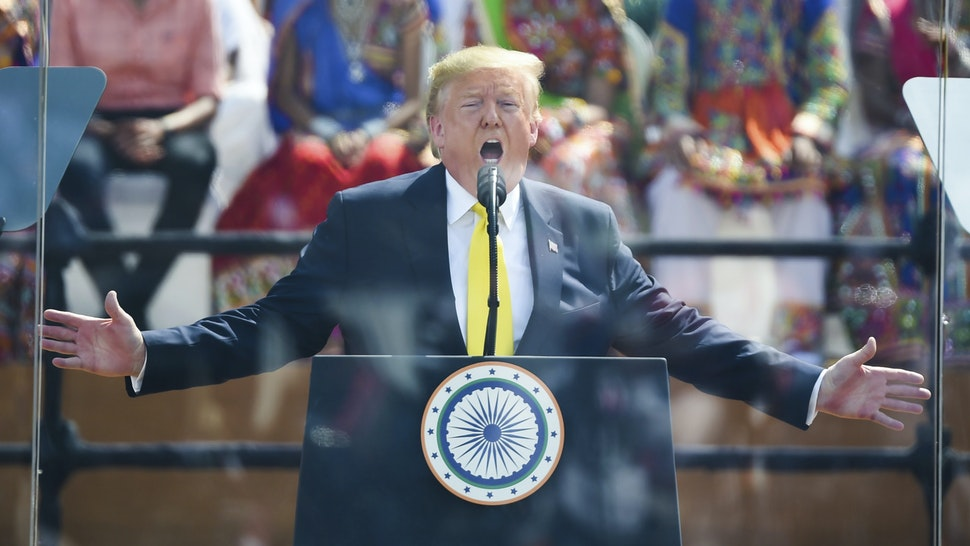 US President Donald Trump speaks during 'Namaste Trump' rally at Sardar Patel Stadium in Motera, on the outskirts of Ahmedabad, on February 24, 2020.