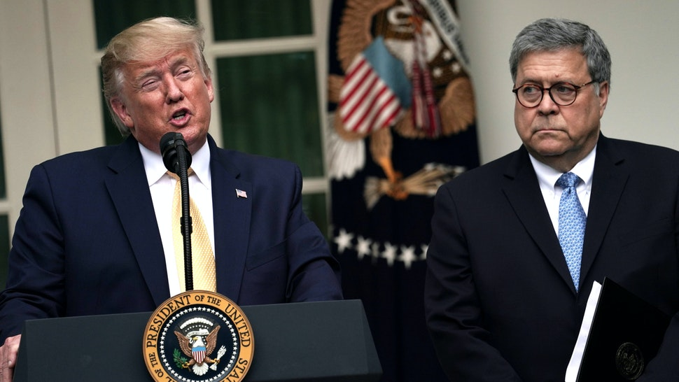 WASHINGTON, DC - JULY 11: U.S. President Donald Trump makes a statement on the census with Attorney General William Barr in the Rose Garden of the White House on July 11, 2019 in Washington, DC. PresidentTrump, who had previously pushed to add a citizenship question to the 2020 census, announced that he would direct the Commerce Department to collect that data in other ways.