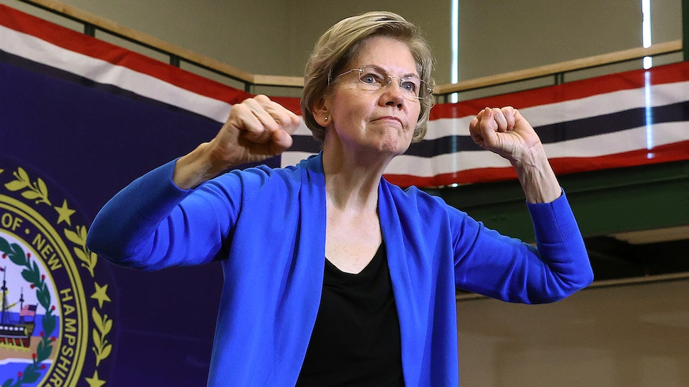 NASHUA, NEW HAMPSHIRE - FEBRUARY 05: Democratic presidential candidate Sen. Elizabeth Warren (D-MA) speaks during a campaign event at Nashua Community College February 05, 2020 in Nashua, New Hampshire. According to a new set of partial Iowa caucus results, Warren is third behind Democratic presidential candidates former South Bend, Indiana Mayor Pete Buttigieg and Sen. Bernie Sanders (I-VT) and ahead of former Vice President Joe Biden