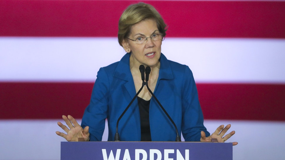 MANCHESTER, NH - FEBRUARY 11: Elizabeth Warren speaks to the crowd during her New Hampshire Election Night Event at the Executive Health and Sports Center in Manchester, NH on Feb. 11, 2020. The primary election results roll in.