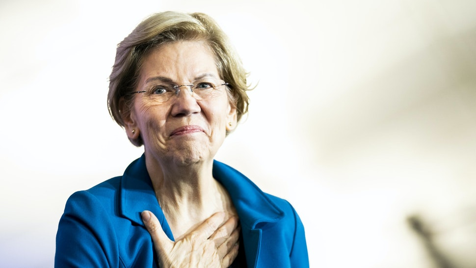 MANCHESTER, NEW HAMPSHIRE - FEBRUARY 11, 2020: At her election night party, Democratic Presidential Candidate Senator Elizabeth Warren speaks to her supporters on New Hampshire primary night in Manchester, New Hampshire on Tuesday February 11, 2020.