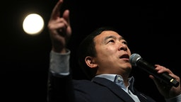KEENE, NEW HAMPSHIRE - FEBRUARY 05: Democratic presidential candidate Andrew Yang speaks during a campaign event on February 05, 2020 in Keene, New Hampshire. With one week to go before the New Hampshire primary, Andrew Yang is campaigning throughout the state.