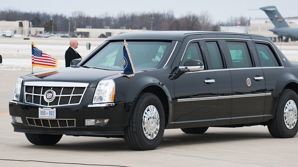 SPRINGFIELD, IL - FEBRUARY 10: A Presidential limousine moves in place during the arrival of President Barack Obama at Abraham Lincoln Capital Airport on February 10, 2016 in Springfield, IL. Mr. Obama is traveling to Springfield to address the joint state legislature amid the state's budget crisis. (Photo: