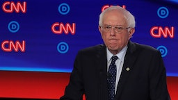 DETROIT, MICHIGAN - JULY 30: Democratic presidential candidate Sen. Bernie Sanders (I-VT) gestures during the Democratic Presidential Debate at the Fox Theatre July 30, 2019 in Detroit, Michigan. 20 Democratic presidential candidates were split into two groups of 10 to take part in the debate sponsored by CNN held over two nights at Detroit's Fox Theatre. (Photo by
