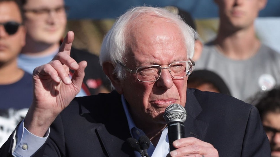LAS VEGAS, NEVADA - FEBRUARY 18: Democratic presidential candidate Sen. Bernie Sanders (I-VT) speaks during a campaign rally at University of Nevada February 18, 2020 in Las Vegas, Nevada. Sen. Sanders continues to campaign ahead of the upcoming Nevada Democratic presidential caucus on February 22. (Photo by