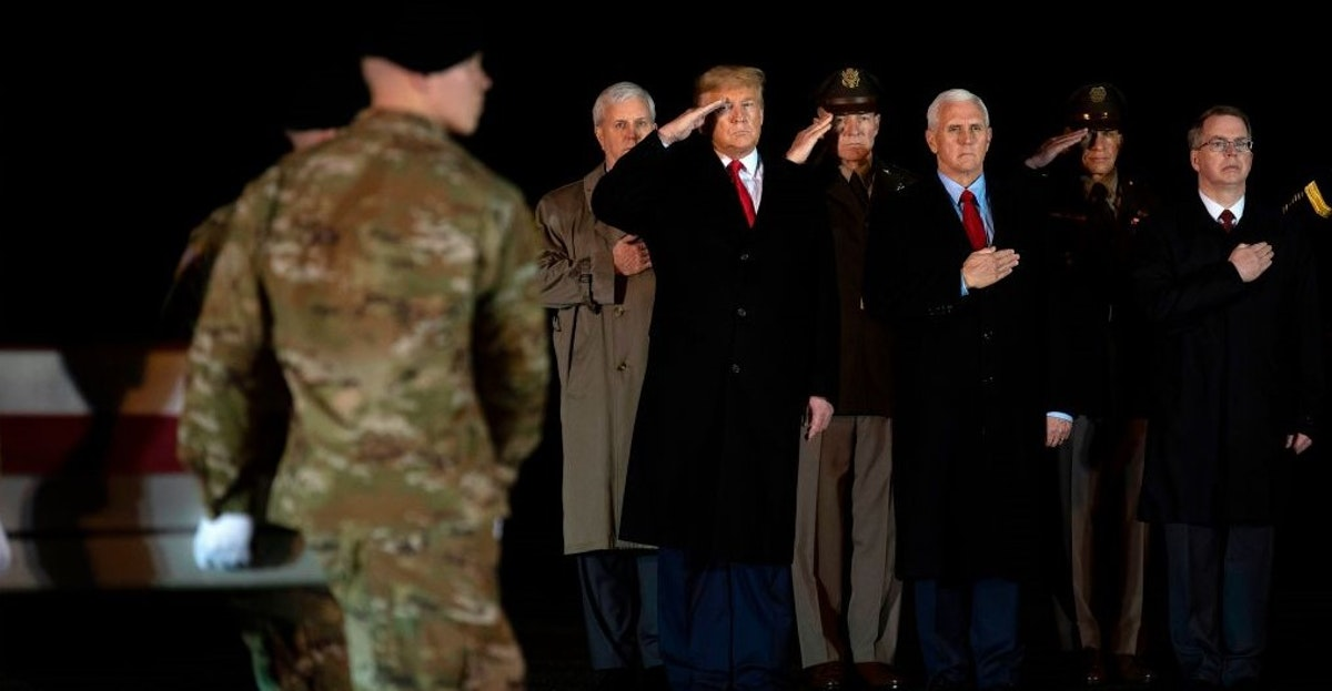 Trump Flies Unannounced To Dover AFB After N.H. Rally To Pay Respects To Two Soldiers Killed In Afghanistan