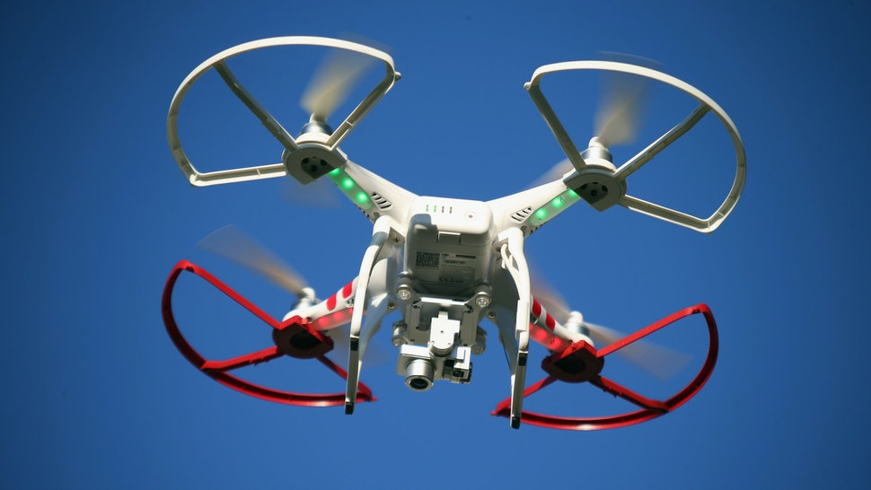 OLD BETHPAGE, NY - SEPTEMBER 05: A drone is flown for recreational purposes in the sky above Old Bethpage, New York on September 5, 2015.
