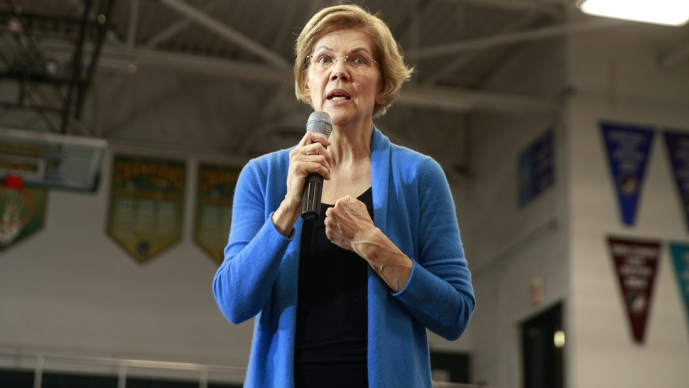 IOWA CITY, UNITED STATES - FEBRUARY 01 2020: Democratic presidential candidate Elizabeth Warren campaigns two days before the Iowa Caucus