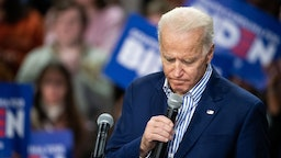Democratic presidential candidate former Vice President Joe Biden addresses a crowd during a campaign event at Wofford University February 28, 2020 in Spartanburg, South Carolina.
