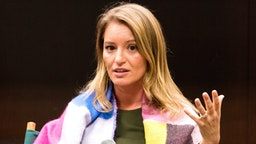 "NEW YORK, NY, UNITED STATES - 2017/11/02: Katy Tur, NBC correspondent and author of ""Unbelievable: My Front-Row Seat to the Craziest Campaign in American History"" at Barnes & Noble on the Upper West Side of New York."