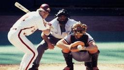 PHILADELPHIA - OCTOBER 1983: Pete Rose #14 of the Philadelphia Phillies bats against the