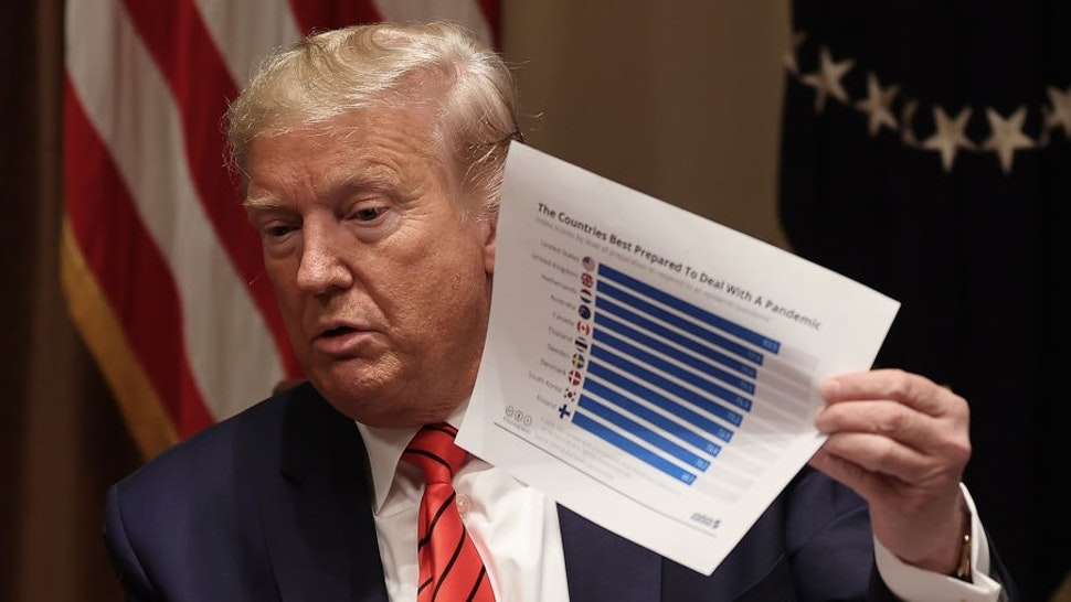 WASHINGTON, DC - FEBRUARY 27: U.S. President Donald Trump holds up a graphic from a study he says names the United States as the country most prepared to handle a pandemic during a news conference and meeting with African American supporters in the Cabinet Room at the White House February 27, 2020 in Washington, DC. The president talked about the economic advances African Americans have made under his administration, about the government's response to the global coronavirus threat and how dishonest he thinks the news media can be to him. He did not answer reporters' questions about the S&P 500 taking its worst loss in almost nine years. (Photo by