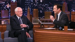 Senator Bernie Sanders during an interview with host Jimmy Fallon on March 11, 2020.