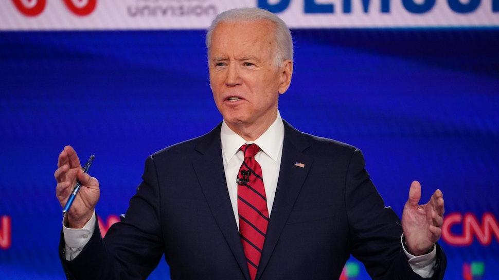 Democratic presidential hopeful former US vice president Joe Biden participates in the 11th Democratic Party 2020 presidential debate in a CNN Washington Bureau studio in Washington, DC on March 15, 2020.