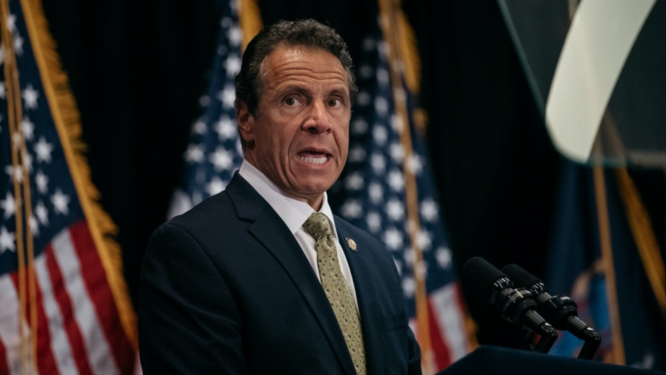 New York Governor Andrew Cuomo delivers a speech on the importance of renewable energy and signs the Climate Leadership and Community Protection Act at Fordham Law School in the borough of Manhattan on July 18, 2019 in New York City.