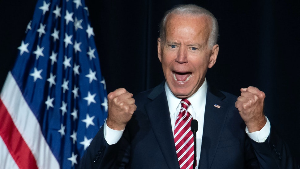 Former US Vice President Joe Biden speaks during the First State Democratic Dinner in Dover, Delaware, on March 16, 2019.
