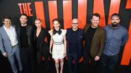 """Producer Jason Blum, actors Ike Barinholtz, Betty Gilpin, Hilary Swank, producer Damon Lindelof, writer Nick Cuse and actor Ethan Suplee arrive for a special screening of Universal Pictures' """"The Hunt,"""" March 9, 2020 at the Arclight Cinema in Hollywood."""