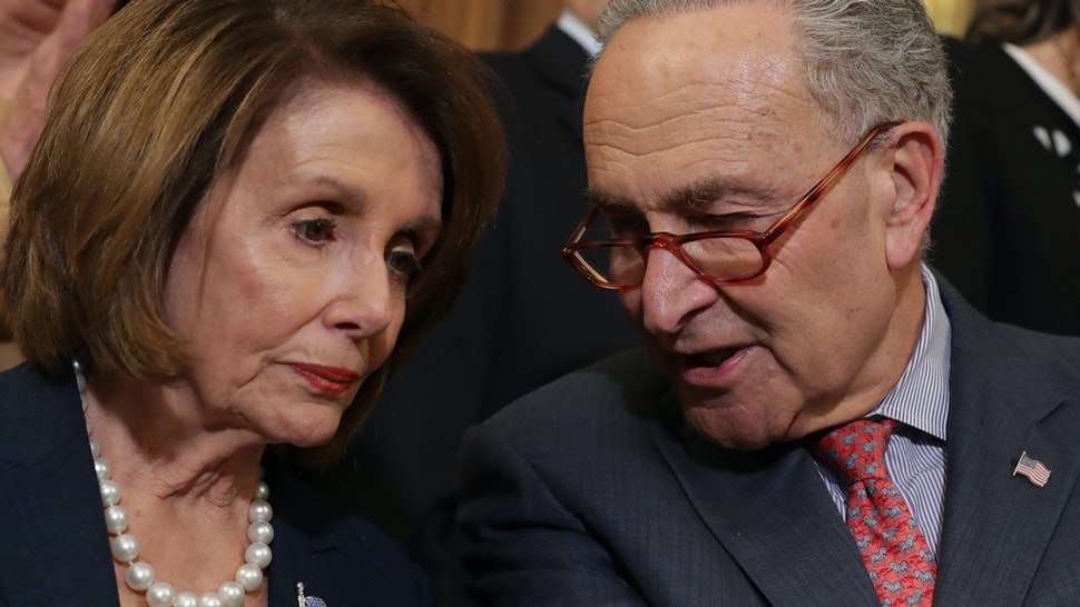 Speaker of the House Nancy Pelosi (D-CA) (L) and Senate Minority Leader Charles Schumer (D-NY) lead a rally and news conference ahead of a House vote on health care and prescription drug legislation in the Rayburn Room at the U.S. Capitol May 15, 2019 in Washington, DC.