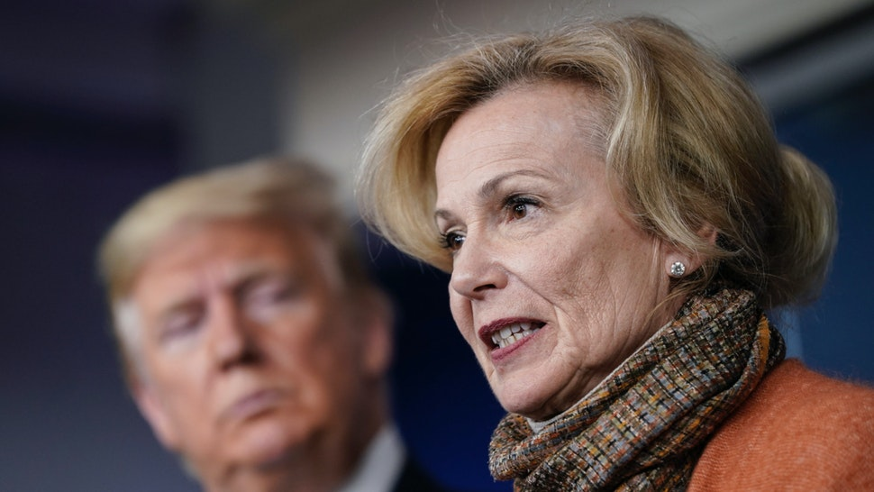 President Donald Trump looks on as White House Coronavirus Response Coordinator Dr. Deborah Birx speaks about the coronavirus outbreak in the press briefing room at the White House on March 17, 2020 in Washington, DC.