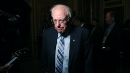 Sen. Bernie Sanders (I-VT) talks to reporters at the U.S. Capitol January 21, 2020 in Washington, DC. Today marks day one of the Senate impeachment trial against President Trump.