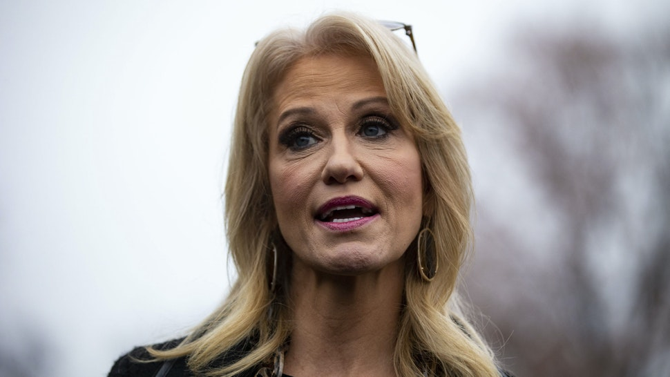 Kellyanne Conway, senior advisor to U.S. President Donald Trump, speaks to members of the media following a television interview at the White House in New York, U.S., on Friday, Dec. 14, 2018.