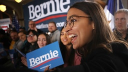 PERRY, IOWA - JANUARY 26: Rep. Alexandria Ocasio-Cortez (D-NY) arrives for a campaign event with Democratic presidential candidate Sen. Bernie Sanders (I-VT) at La Poste January 26, 2020 in Perry, Iowa. A New York Times/Siena College poll conducted January 20-23 places Sanders at the top of a long list of Democrats seeking the presidential nomination with 25-percent of likely Iowa caucus-goers naming him as their first choice. Candidates former South Bend, Indiana Mayor Pete Buttigieg, former Vice President Joe Biden and Sen. Elizabeth Warren (D-MA) are polling at 18, 17 and 15-percent, respectively.
