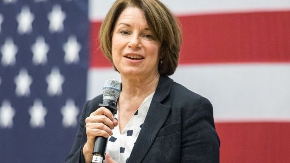 NASHUA, NH - OCTOBER 25: Democratic presidential candidate Sen. Amy Klobuchar (D-MN) speaks during a town hall at Nashua Community College on October 25, 2019 in Nashua, New Hampshire
