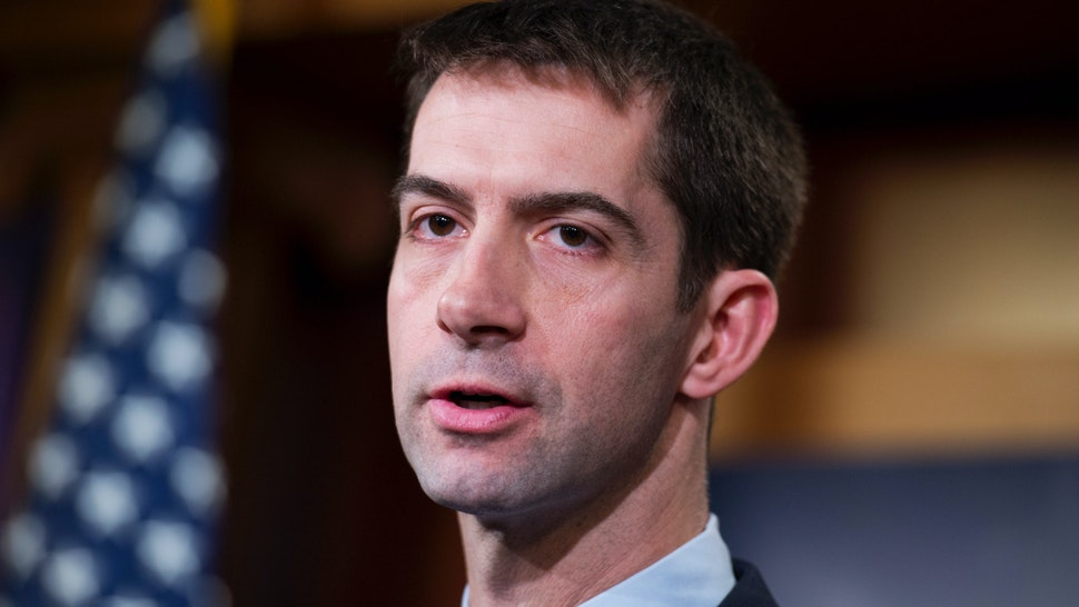 Sen. Tom Cotton, R-Ark., speaks during a news conference in the Capitol's Senate studio on the possibility of arming the Ukrainians in their conflict with Russian-backed rebels, February 5, 2015.