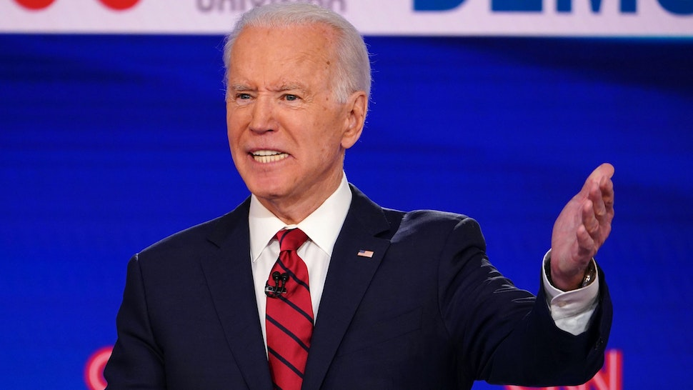 Democratic presidential hopeful former US vice president Joe Biden participates in the 11th Democratic Party 2020 presidential debate in a CNN Washington Bureau studio in Washington, DC on March 15, 2020.