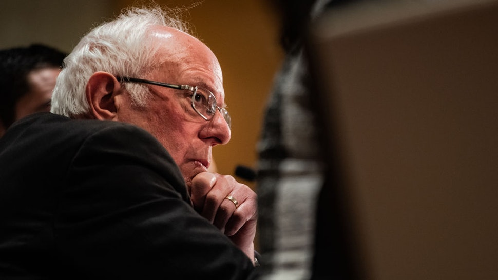 Sen. Bernie Sanders, I-Vt., U.S. 2020 Democratic Presidential Candidate listens during the Coronavirus Public Health roundtable press conference at Westing Detroit Metropolitan Airport on Monday, March 9, 2020 in Romulus, MI. (Photo by Salwan Georges/The Washington Post via Getty Images)