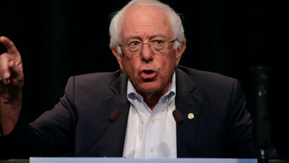 ALTOONA, IA - AUGUST 21: Democratic presidential candidate Sen. Bernie Sanders (I-VT) speaks at the Iowa Federation Labor Convention on August 21, 2019 in Altoona, Iowa. Candidates had 10 minutes each to address union members during the convention. The 2020 Democratic presidential Iowa caucuses will take place on Monday, February 3, 2020.