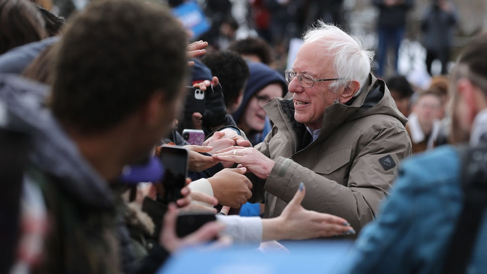 Democratic presidential candidate Sen. Bernie Sanders (I-VT) greets supporters at the conclusion of a campaign rally in the Central Mall of the Utah State Fair Park March 02, 2020 in Salt Lake City, Utah. Sanders is campaigning in Utah and Minnesota the day before Super Tuesday, when 1,357 Democratic delegates in 14 states across the country will be up for grabs. (Photo by Chip Somodevilla/Getty Images)