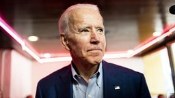 LOS ANGELES, CALIFORNIA - MARCH 3, 2020: Democratic Presidential candidate former Vice President Joe Biden meets California voters at the famous Roscoe's House of Chicken and Waffles in Los Angeles, California on Tuesday March 3, 2020.