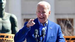 Democratic presidential candidate Joe Biden speaks during a campaign rally at Kiener Plaza Park in St. Louis, Missouri on March 7, 2020.