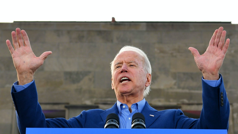 Democratic presidential candidate former Vice President Joe Biden speaks during a campaign rally at the WWI Museum and Memorial in Kansas City, Missouri on March 7, 2020.