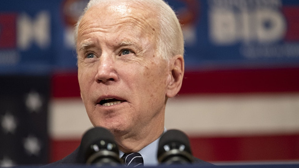 Former Vice President Joe Biden, 2020 Democratic presidential candidate, speaks during a campaign event in Columbus, Ohio, U.S., on Tuesday, March 10, 2020. Bernie Sanders and Biden have canceled planned rallies in Cleveland, Ohio Tuesday amid concerns about coronavirus spreading at public events and suggested the campaigns might suspend large gatherings.