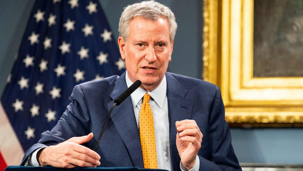 NEW YORK, UNITED STATES - MARCH 15, 2020: New York City Mayor Bill de Blasio (D) speaks at a press conference about COVID-19 and the closing of K-12 public schools in New York City.